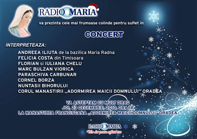 """Invitatie – Concert la Manastirea Franciscana """"Adormirea Maicii Domnului"""" din Oradea organizat de Radio Maria,"""