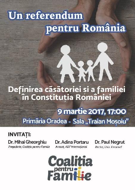 Invitatie la conferinta: Definirea casatoriei si a familiei în Constitutia României,