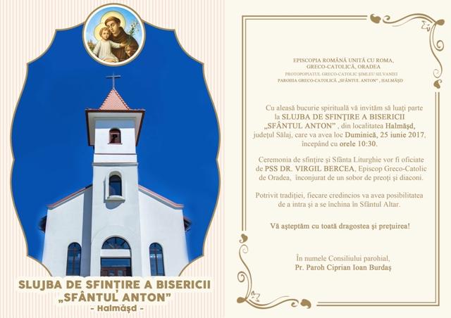 Invitatie: Sfintirea Bisericii din Halmasd,