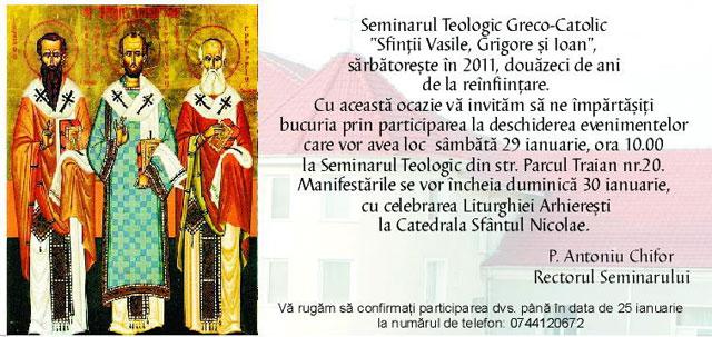 Invitatie – 20 de ani de la reînfiintarea Seminarului din Oradea,