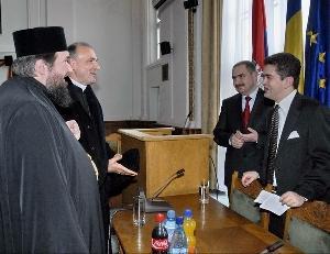 Vizita domnului Theodor Paleologu la sediul Episcopiei Greco-Catolice din Oradea,