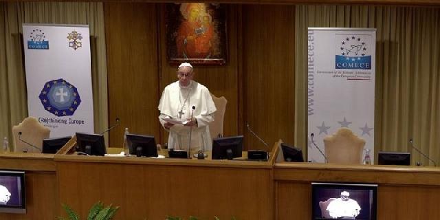 """Discursul Papei adresat participantilor la conferinta """"Regândind Europa"""","""