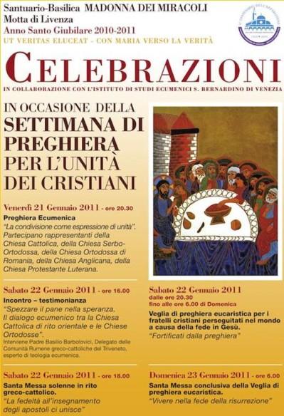 Interventii ale Protopopiatului Triveneto la Sanctuarul Franciscan din Motta di Livenza (TV – Italia) cu ocazia Saptamânii de Rugaciune pentru Unitatea Crestinilor,