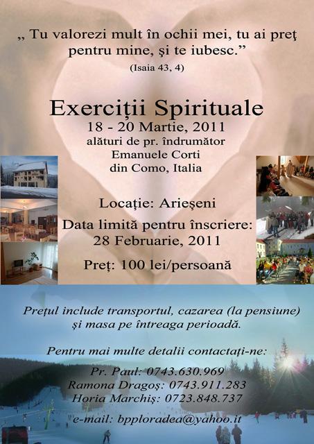 Anunt – Exercitii Spirituale pentru tineri la Arieseni,