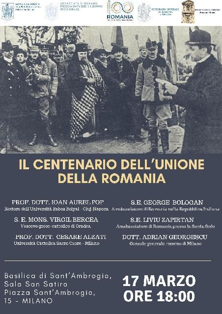 Centenarul Marii Uniri sarbatorit la Milano,