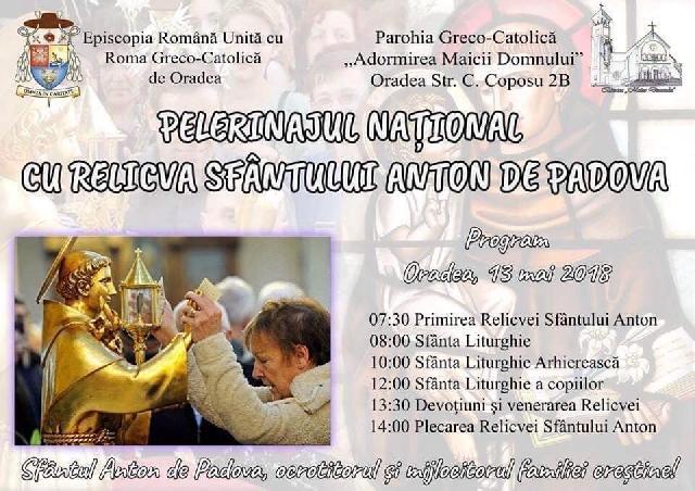 Invitatie: Moastele Sfântului Anton la Oradea,