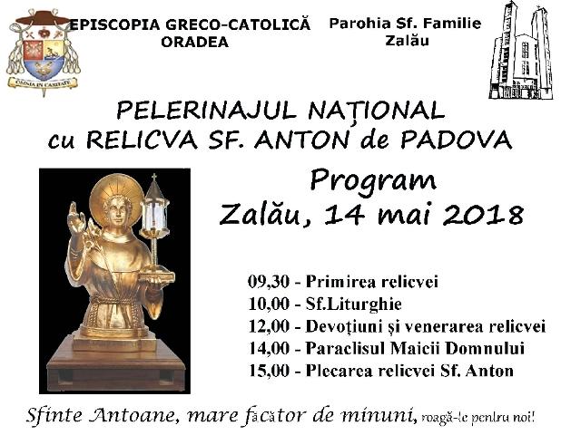 Invitatie: Moastele Sfântului Anton la Zalau,