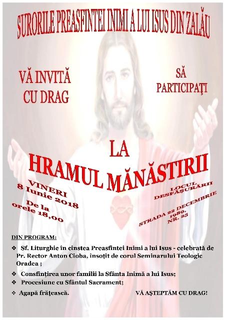 "Invitatie: Hramul Manastirii ""Preasfânta Inima a lui Isus"" din Zalau,"