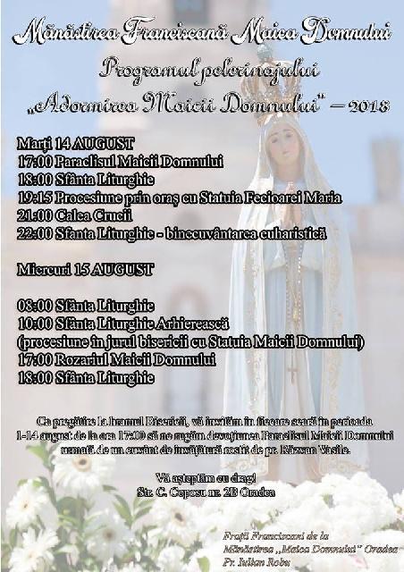 Invitatie: Hramul Manastirii Franciscane,