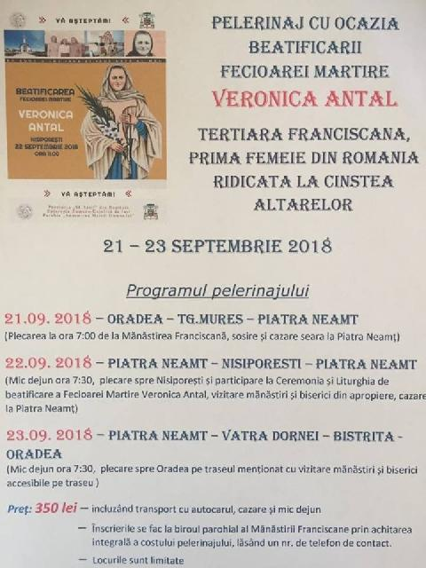 Invitatie: Beatificare Veronica Antal,