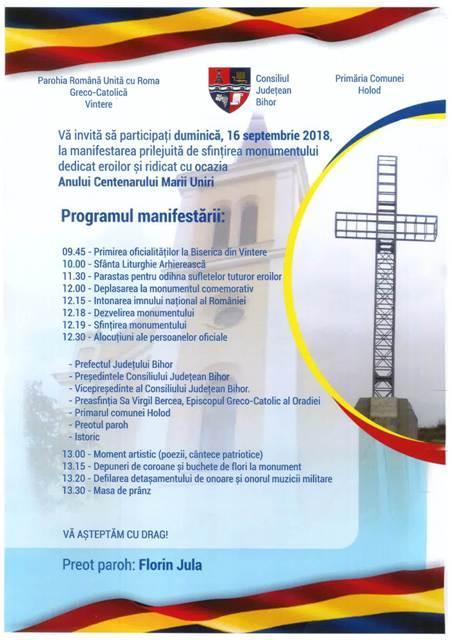 Invitatie: Sfintirea monumentului din Vintere,