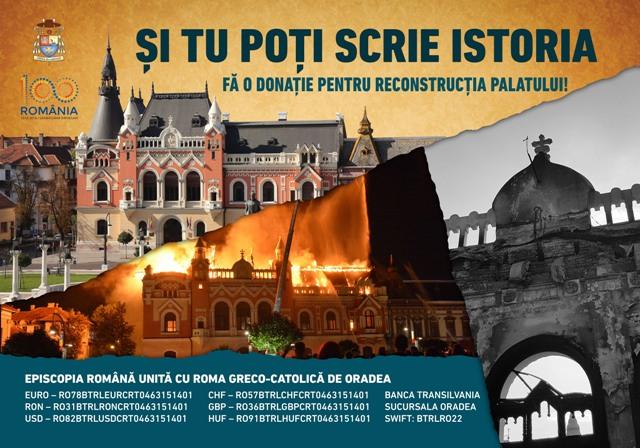 11 septembrie 2018: Informare cu privire la strângerea de fonduri pentru reconstruirea Palatului Episcopal Greco-Catolic din Oradea,