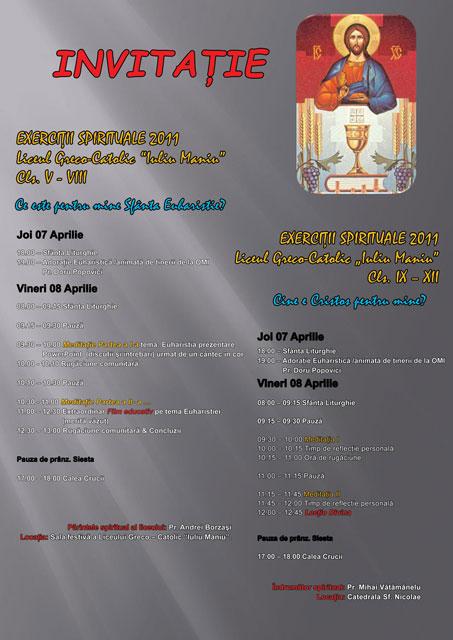 Anunt: Exercitii spirituale pentru elevii Liceului Teologic Greco-Catolic din Oradea,