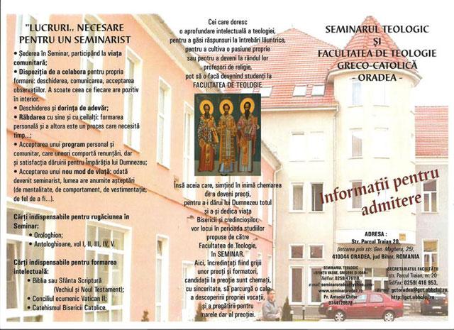 Admitere la Seminarul Teologic si Facultatea de Teologie Greco-Catolica din Oradea,