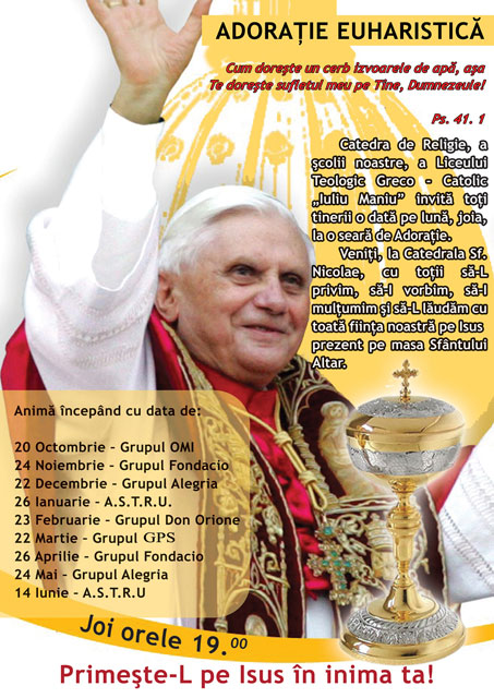 """Adoratie Euharistica pentru tineri la Catedrala """"Sfântul Nicolae"""","""