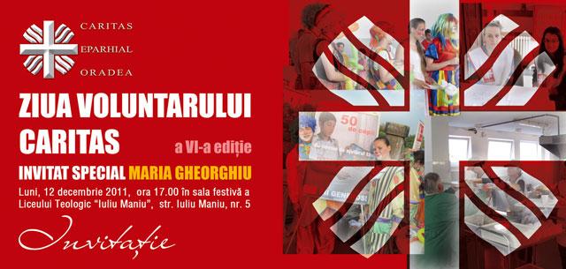 Invitatie: Ziua Voluntarului Caritas – 12 decembrie 2011,
