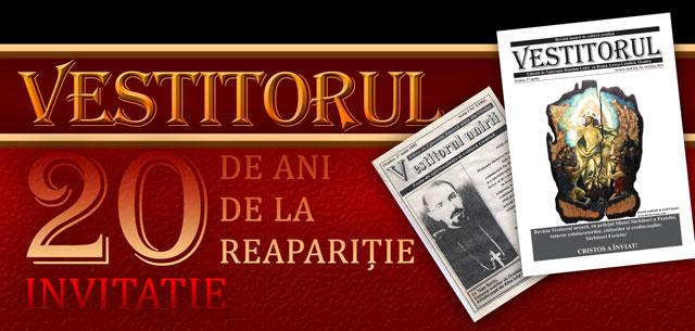 Invitatie: 20 de ani de la reaparitia Revistei Vestitorul – 27 apr. 2012,