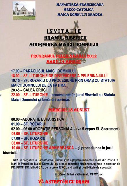 """Hramul Bisericii """"Adormirea Maicii Domnului"""" din Oradea – Program,"""