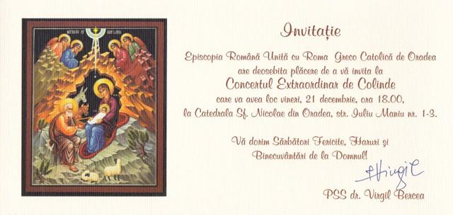 Invitatie: Concert Extraordinar de colinde,