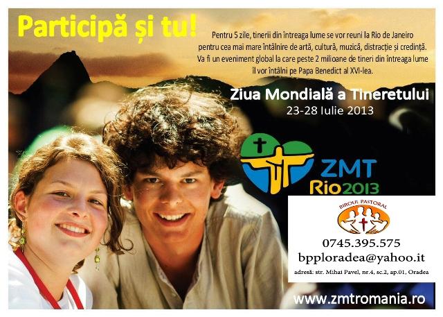 Înscrieri pentru Ziua Mondiala a Tineretului de la Rio de Janeiro,