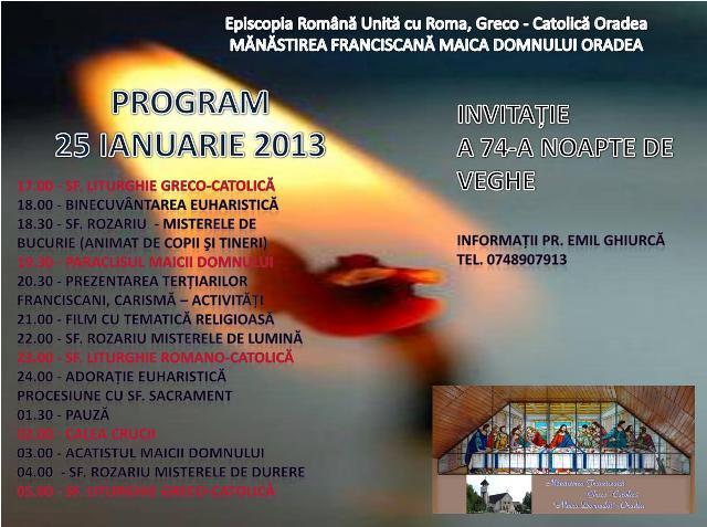 Noapte de Rugaciune la Manastirea Franciscana din Oradea,