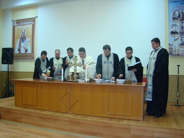 "Sfintirea mare a apei la Seminarul Greco-Catolic ""Sfintii Trei Ierarhi"" din Oradea,"